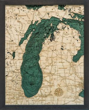 "Lake Michigan 3-D Nautical Wood Chart, Small, 16"" x 20"" LMIC-D4S"